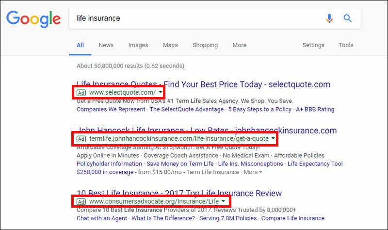 Example of a pay-per-click ad