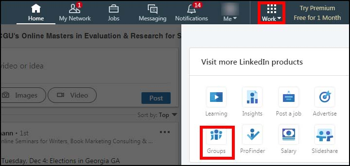 screenshot of LinkedIn's Work menu, showing the Groups option