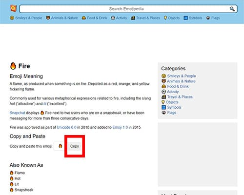 Screenshot of an page on Emojipedia with the copy button circled in red