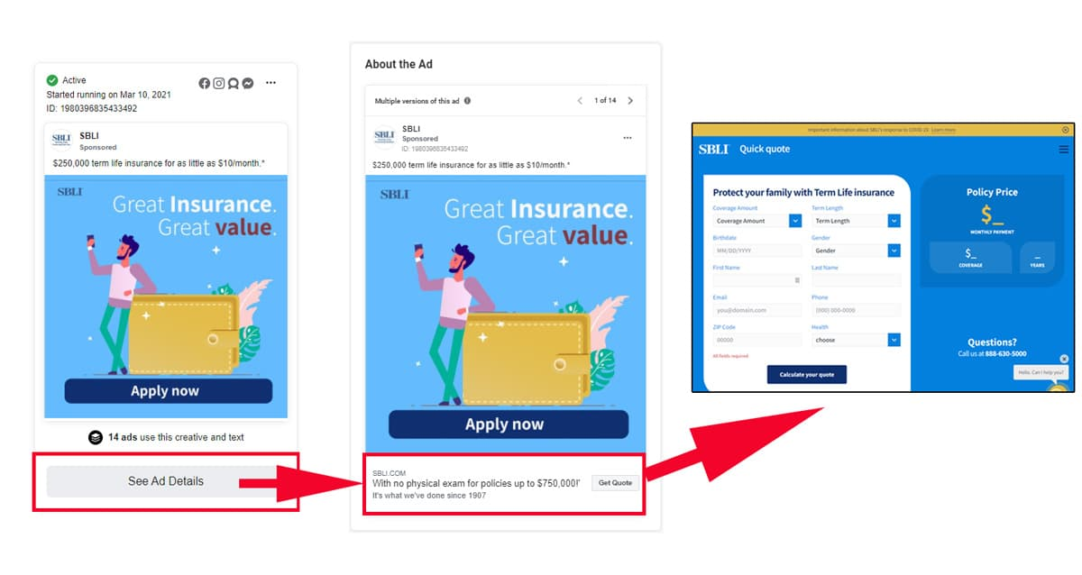 Screenshot of the ad, the ad with details, and the landing page attached to the ad's CTA