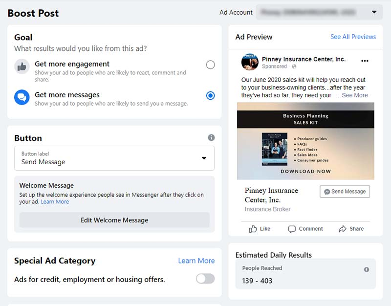 Screenshot of the Boost Post interface on Facebook.