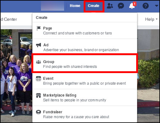 Screenshot showing where to create a new group on Facebook on desktop
