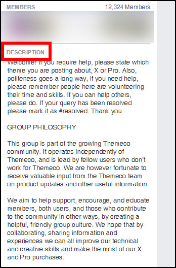 Screenshot showing a Facebook group description
