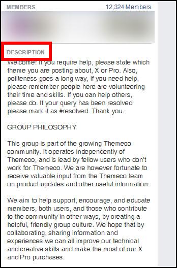 Screenshot showing a Facebook group description