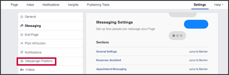Facebook page's Messenger Platform settings tab