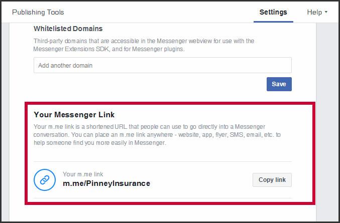 Facebook page's Messenger link