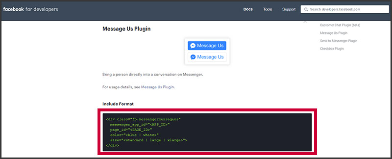 Facebook's Message Us plugin code