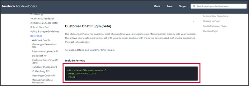 Facebook's Customer Chat plugin code