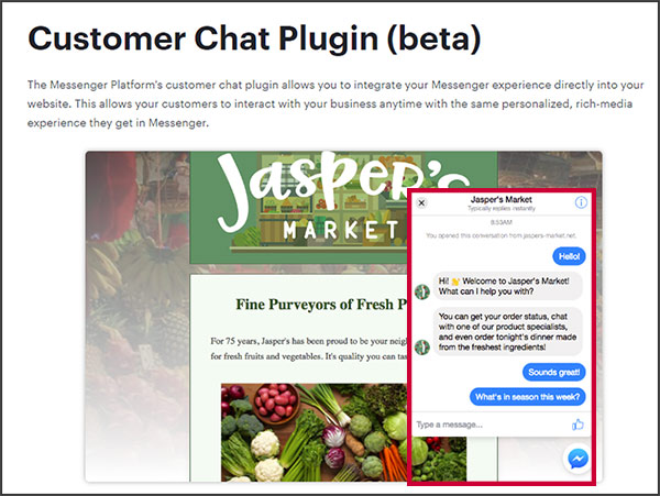 Facebook's Customer Chat plugin, sample image from Facebook Developers' site