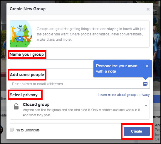 Screenshot showing what details you need to fill in to create a new group on Facebook on desktop