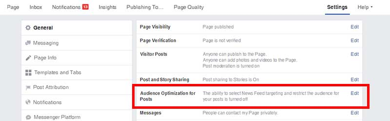 Screenshot of the Pinney Insurance Facebook page, with the section titled Audience Optimization for Posts highlighted.