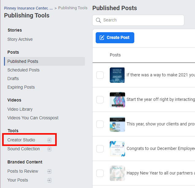 Screenshot of Pinney's Publishing Tools within Facebook, with the Creator Studio link highlighted.