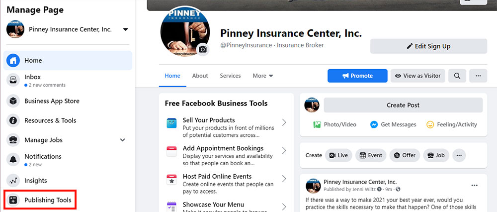 Screenshot of Pinney's Facebook page with the admin menu visible on the left, with Publishing Tools highlighted.
