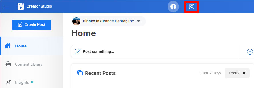 Screenshot of Pinney's Creator Studio in Facebook, with the Instagram toggle button highlighted.