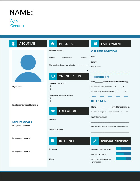 Free buyer persona template from Pinney Insurance