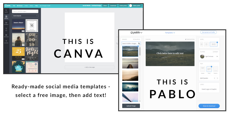 Create free social media images online using Canva or Pablo