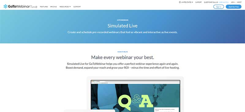 Screenshot of the GoToWebinar page about pre-recorded webinars