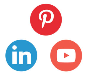 Social media icons for Pinterest, LinkedIn, and YouTube