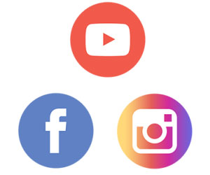 Social media icons for YouTube, Facebook, and Instagram