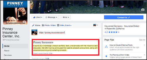 Facebook: Remember that you can click the headline or blurb for any shared page and edit the text to your liking