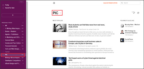 Feedly: an RSS reader that makes it easy to find content to share on social media