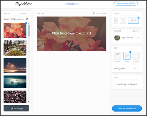 Pablo: a tool to make a quick sharable image for social media
