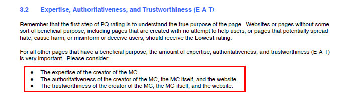 Screenshot of the Google Page Quality Guidelines document showing the E-A-T content.
