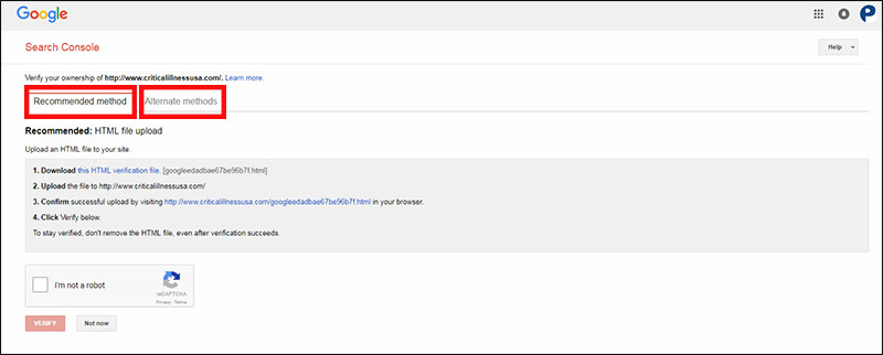 Methods to verify your website in Google Search Console