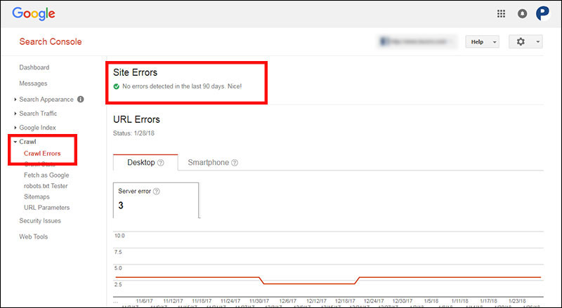 Viewing crawl errors in Google Search Console