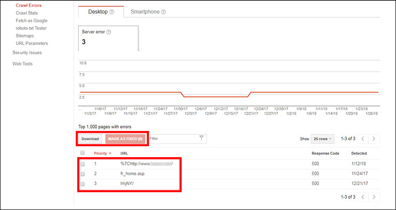 Viewing URL errors in Google Search Console