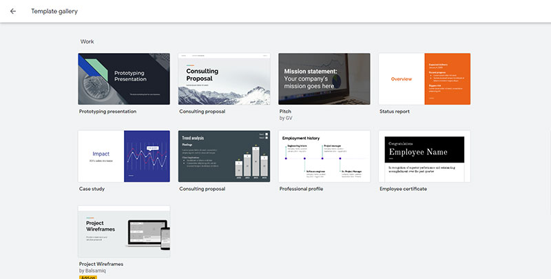 Screenshot of the Google Slides templates in the 'work' category
