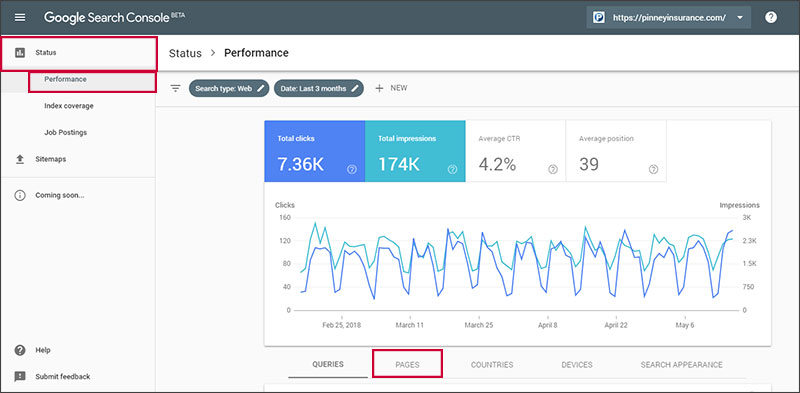 View your site's pages in Google Search Console