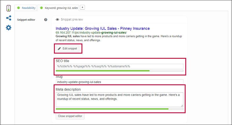 Yoast SEO plugin for WordPress - where to optimize SEO title and Meta description