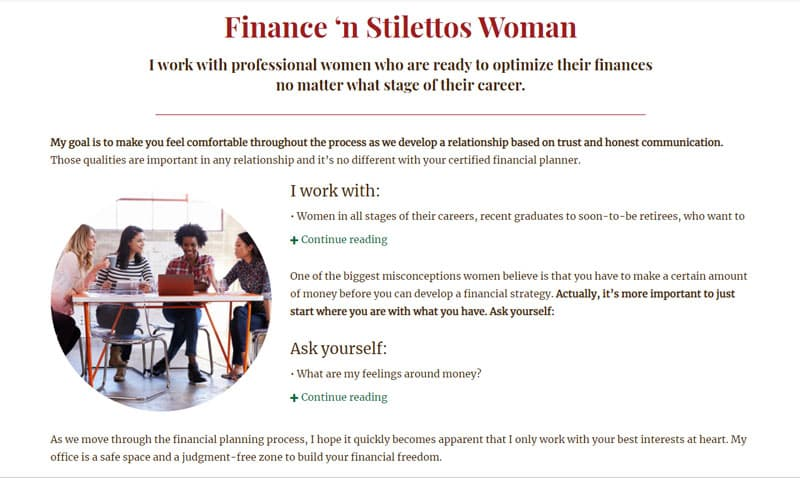 Screenshot of the H&H Wealth Management site with the following text: I work with women in all stages of their careers, recent graduates to soon-to-be retirees.