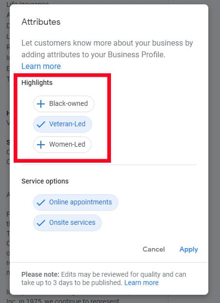 Screenshot of Google My Business showing the 'Highlights' option.