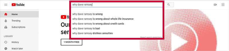 Screenshot of YouTube search box with autosuggest keyphrases