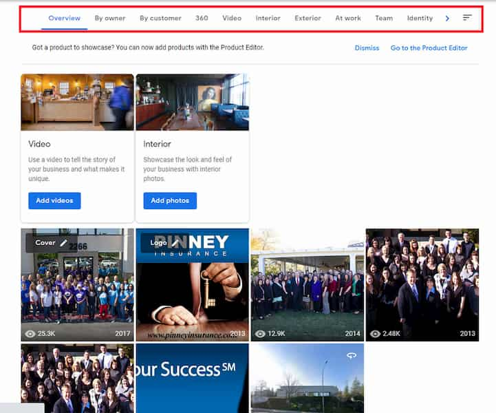 Screenshot of Google My Business showing the photos and videos section.