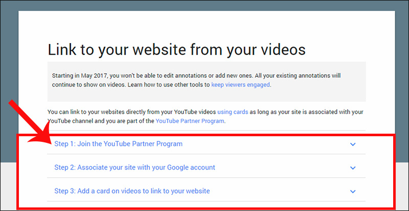 New YouTube policy for linking out to a website from your video