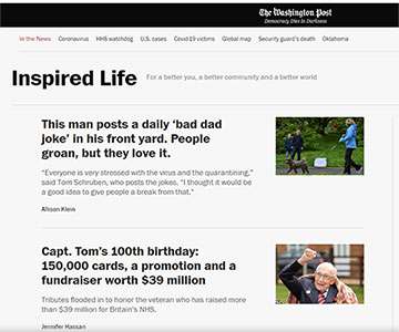 Screenshot of the Washington Post's Inspired Life blog with good-news stories added daily