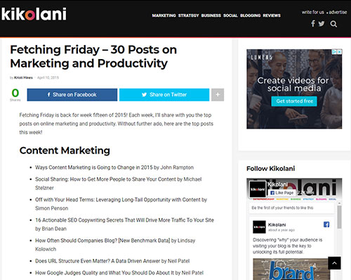 Screenshot of a sample roundup post from Kikolani.com, showing a list of recent popular posts in the SEO and marketing space.