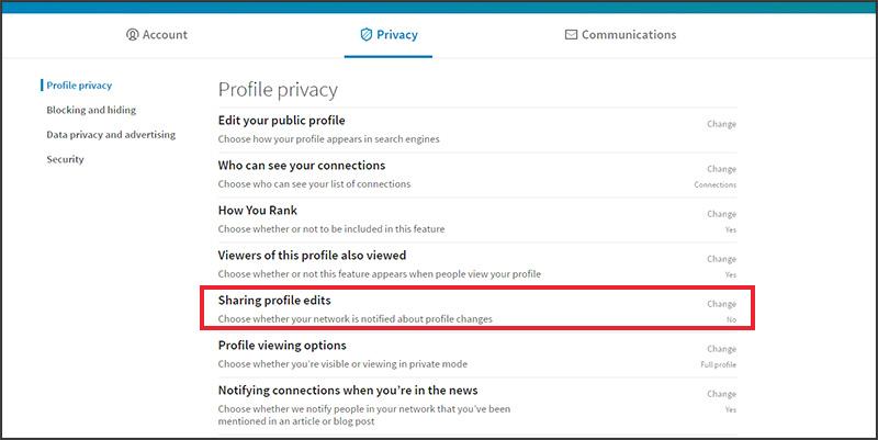 LinkedIn updates: Privacy Settings