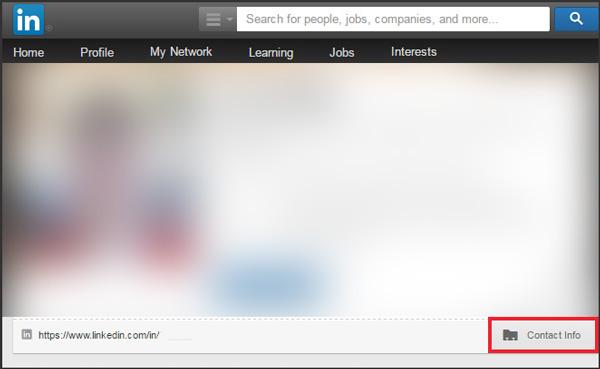 LinkedIn updates: contact info