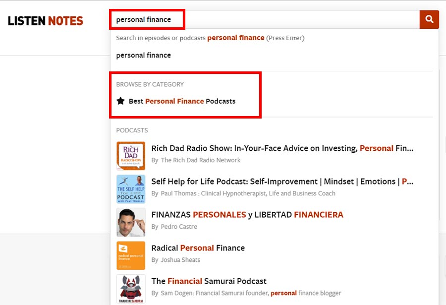 Listen Notes search results for 'personal finance'