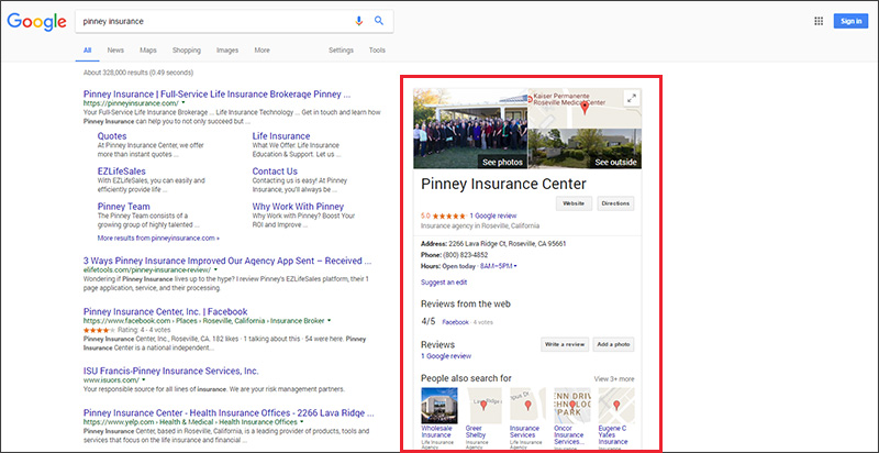 Pinney Insurance google search results showing Knowledge Graph