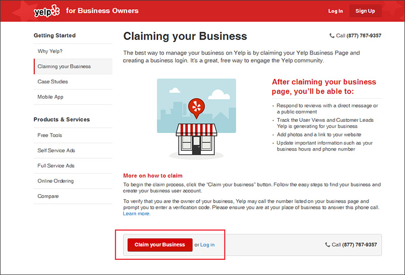 Claim your business listing on Yelp