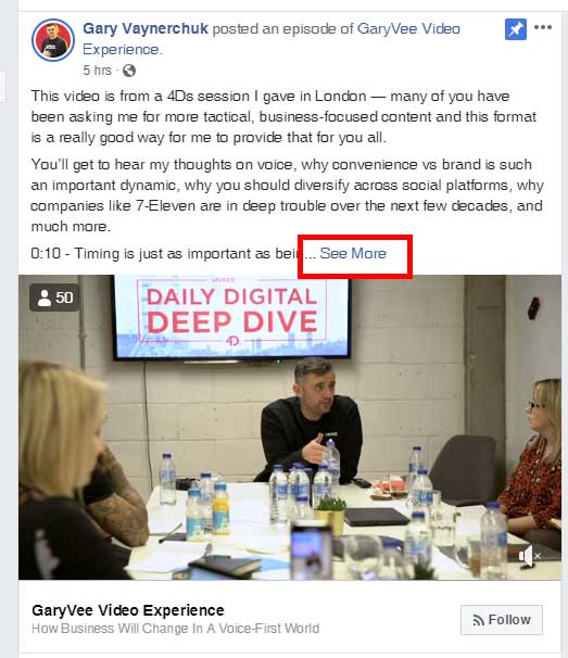 Screenshot of the Gary Vee Facebook page, showing his long-form content on Facebook, with a See More link you have to click to view the rest of the post.