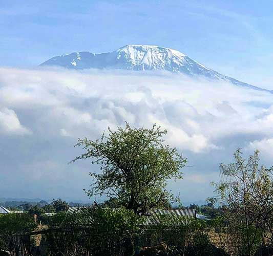 A view from the ground of Mount Kilimanjaro in the distance, with the snow-topped peak surrounded by a veil of clouds.