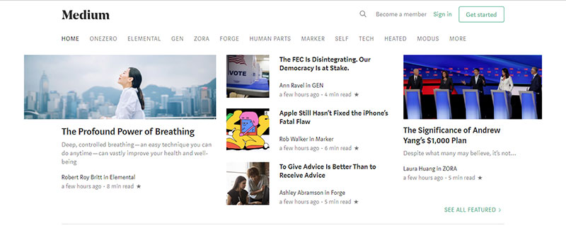 Screenshot of the Medium home page, showing popular posts of the day