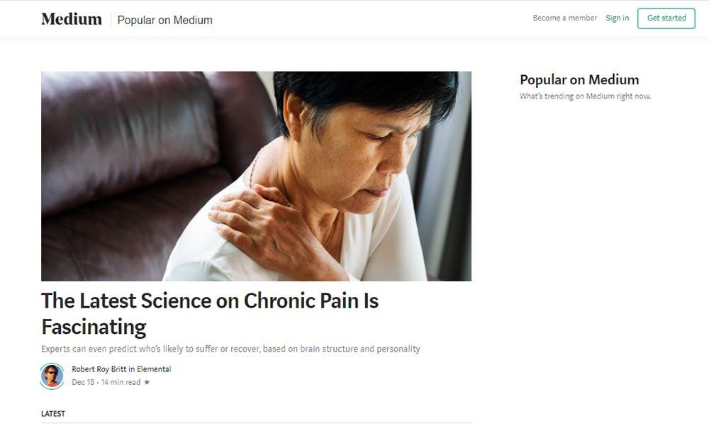 Medium's list of popular articles