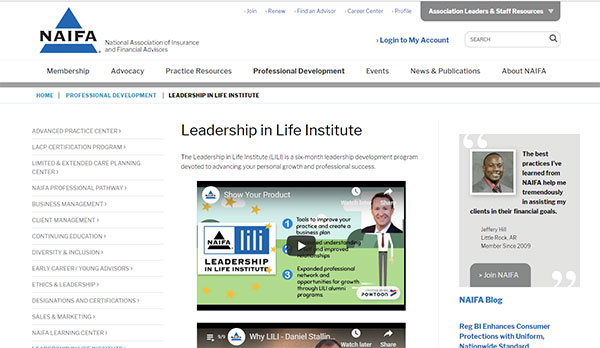 Screenshot of the NAIFA LILI website
